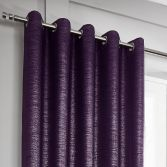 Glitter Glamour Fully Lined Ring Top Curtains - Purple