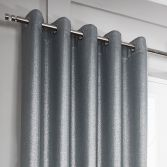 Glitter Glamour Fully Lined Ring Top Curtains - Silver