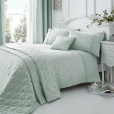 Ebony Floral Quilted Cotton Rich Bedspread - Duck Egg Blue
