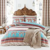 Catherine Lansfield Parading Elephant Design Duvet Cover Set - Multi
