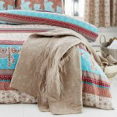 Catherine Lansfield Parading Elephant Design Bedspread - Multi