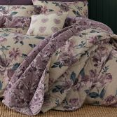 Catherine Lansfield Painted Floral Reversible Quilted Bedspread - Plum Purple