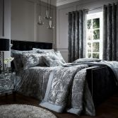 Catherine Lansfield Luxury Crushed Velvet Duvet Cover Set - Silver Grey
