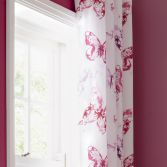 Catherine Lansfield Butterfly Pink Fully Lined Eyelet Curtains