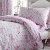 Catherine Lansfield Folk Unicorn Reversible Kids Duvet Cover Set