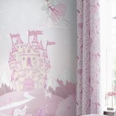 Catherine Lansfield Folk Unicorn Pink Lined Eyelet Curtains