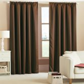 Woven Thermal Blackout Tape Top Curtains - Chocolate Brown
