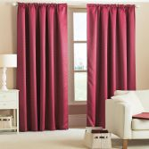 Woven Thermal Blackout Tape Top Curtains - Wine Red