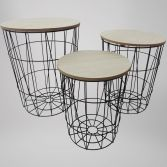 Wooden Rustic Set of 3 Nesting Tables - Black