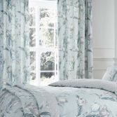 Tulip Floral Fully Lined Tape Top Curtains - Duck Egg Blue