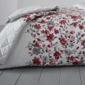 Gabriella Floral Reversible Quilted Bedspread - Red