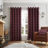Cameron Tartan Fully Lined Eyelet Curtains - Purple > 130