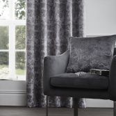 Downton Floral Self-Piped Cushion Cover - Graphite Grey