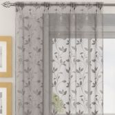 Evie Floral Voile Curtain Panel - Silver Grey