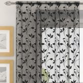 Evie Floral Voile Curtain Panel - Black