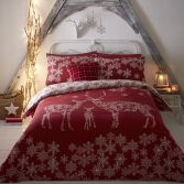 Reindeer Family Christmas Duvet Cover Set - Red