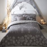 Reindeer Family Christmas Duvet Cover Set - Silver Grey