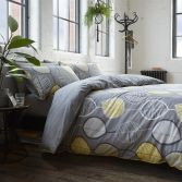 Racing Green Wardley Leaf Duvet Cover Set - Grey Yellow