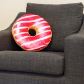 Large Striped Doughnut Cushion - Pink