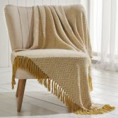 Ascot 100% Cotton Throw With Geometric Pattern - Ochre Yellow