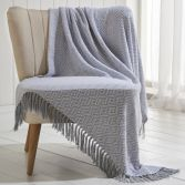 Ascot 100% Cotton Throw With Geometric Pattern - Grey
