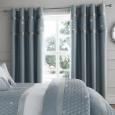 Catherine Lansfield Sequin Cluster Fully Lined Eyelet Curtains - Duck Egg Blue