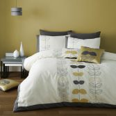 Catherine Lansfield Embroidered Scandi Leaf Duvet Cover Set - Ochre Yellow