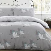 Catherine Lansfield Swan Duvet Cover Set - Grey