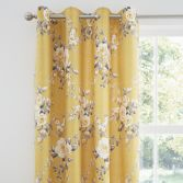Catherine Lansfield Canterbury Fully Lined Eyelet Curtains - Ochre Yellow