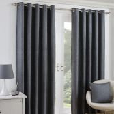 Twilight Fully Lined Blackout Eyelet Ready Made Curtains - Charcoal Grey