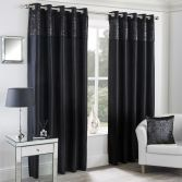 Mongolian Glitter Fur Fully Lined Eyelet Curtains - Black
