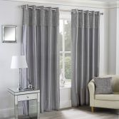 Mongolian Glitter Fur Fully Lined Eyelet Curtains - Silver Grey