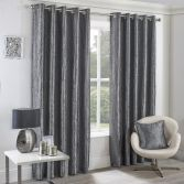 Crushed Taffeta Faux Silk Fully Lined Eyelet Curtains - Silver Grey