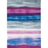Boca Machine Woven and Printed Stripe Rug - Berry Purple 03