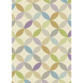 Focus Machine Woven Geometric Rug - Pink Green Natural Multi 06