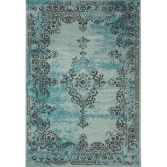 Revive Machine Made Floral Rug - Teal Blue 01