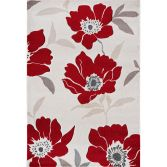 Vogue Machine Woven Floral Rug - Red 02