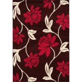 Vogue Machine Woven Floral Rug - Red Brown Cream 10
