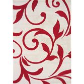 Vogue Machine Woven Floral Rug - Red Cream 27