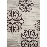 Vogue Machine Woven Floral Rug - Brown Grey White 37