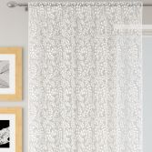 Willow Floral Lace Voile Curtain Panel - White
