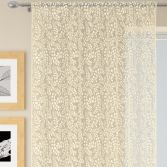 Willow Floral Lace Voile Curtain Panel - Champagne Cream