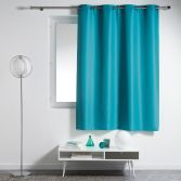 Essentiel Plain Single Curtain Panel with Plastic Eyelets - Teal Blue