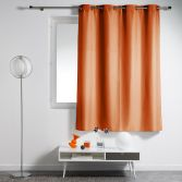 Essentiel Plain Single Curtain Panel with Plastic Eyelets - Brick Orange
