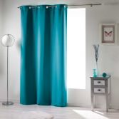 Occult Plain Blackout Eyelet Single Curtain Panel - Teal Blue