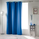 Occult Plain Blackout Eyelet Single Curtain Panel - Indigo Blue