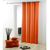 Essentiel Plain Single Curtain Panel with Metal Eyelets - Brick Orange