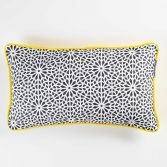 Tunis Geometric 100% Cotton Cushion with Piping - Charcoal Grey