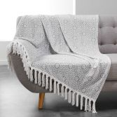 Tunis Flannel Throw with Geometric Print and Tassels - Silver Grey