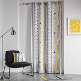 Yellow Mix Eyelet Curtain Panel With Geometric Print